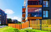 Fence At Modern Architectural Complex Of Residential Buildings Reflex poster