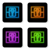 Glowing Neon Mystery Box Or Random Loot Box For Games Icon Isolated On White Background. Question Bo poster