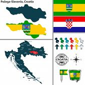 Vector Map Of Pozega Slavonia And Location On Croatian Map poster