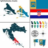 Vector Map Of Split Dalmatia And Location On Croatian Map poster