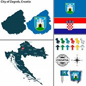 Vector Map Of Zagreb City And Location On Croatian Map poster