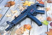 image of mp5  - Picture of a sub machine gun surrounded by leaves - JPG