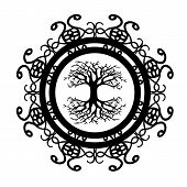 Scandinavian Tree Of Life Silhouette In Ornamented Circle poster