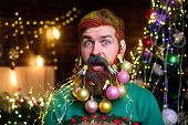 Happy New Year. Surprised Santa Man With Decorated Beard. New Year Party. Bearded Santa Man With Dec poster