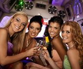 picture of limousine  - Happy women celebrating in limousine - JPG