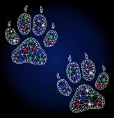 Flare White Mesh Tiger Footprints With Glare Effect. Abstract Illuminated Model Of Tiger Footprints. poster