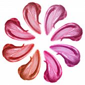 Set Of Different Colors Lip Glosses Smear Isolated On White. Smudged Makeup Product Sample poster