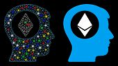 Glowing Mesh Ethereum Mind Icon With Glow Effect. Abstract Illuminated Model Of Ethereum Mind. Shiny poster