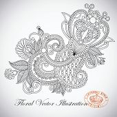 foto of indium  - Hand draw line art ornate flower design - JPG