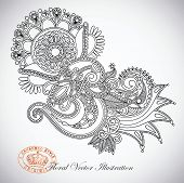 pic of indium  - Hand draw line art ornate flower design - JPG