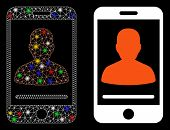 Glowing Mesh Mobile Contact Icon With Sparkle Effect. Abstract Illuminated Model Of Mobile Contact.  poster