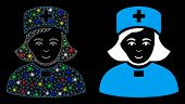 Glowing Mesh Church Female Doctor Icon With Glitter Effect. Abstract Illuminated Model Of Church Fem poster