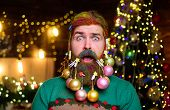 Decorated Beard. New Year Party. Surprised Santa Man With Decorated Beard. Bearded Santa Man With De poster