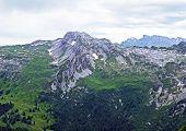 Alpine Mountain Mutteristock Above The Wagital Or Waegital Valley And Alpine Lake Wagitalersee (waeg poster