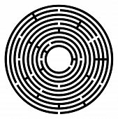Black Circular Maze. Radial Labyrinth. Find A Route To The Centre. Print Out And Follow The Path By  poster