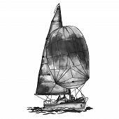 Ship Sailing Yacht Boat Antique Vintage Antique Black Ink Hand Drawing Illustration poster