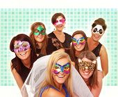 foto of hen party  - A portrait of seven girlfriends in party moods smiling over blurry background - JPG