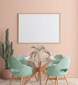 Wall, Poster Mock Up In Dining Room, Minimalist Interior, 3d Illustration poster