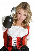 image of wench  - beautiful young female model wearing pirate costume - JPG