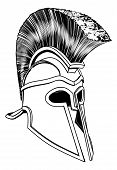 picture of hoplite  - Monochrome illustration of a bronze Corinthian or Spartan helmet like those used in ancient Greece or Rome - JPG