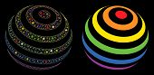 Glowing Mesh Lgbt Color Stripes Abstract Sphere Icon With Sparkle Effect. Abstract Illuminated Model poster