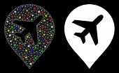 Flare Mesh Airplane Marker Icon With Sparkle Effect. Abstract Illuminated Model Of Airplane Marker.  poster