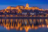 Royal Palace Or Buda Palace In Hungary Budapest On Dusk With Twilight Reflections On The Danube Rive poster