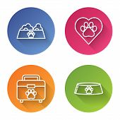 Set Line Pet Food Bowl For Cat Or Dog, Heart With Animals Footprint, Pet First Aid Kit And Pet Food  poster