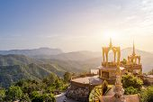 Amazing Wat Phra That Pha Son Kaew Temple, Khao Kho,phetchabun,thailand,the Top Of The View Art Of C poster