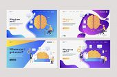 Collection Of Analysts Analyzing Efficiency. Flat Vector Illustrations Of Brains, Devices, Infograph poster