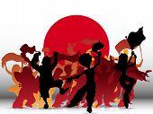 Постер, плакат: Япония спорт Вентилятор толпы с флагом