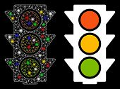 Glossy Mesh Traffic Lights On Icon With Glare Effect. Abstract Illuminated Model Of Traffic Lights O poster
