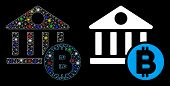 Glowing Mesh Bitcoin Bank Icon With Glitter Effect. Abstract Illuminated Model Of Bitcoin Bank. Shin poster