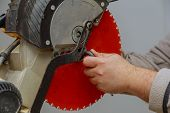 Closeup On The Replacement Blade Disk Saw In The Circular Saw Tools poster