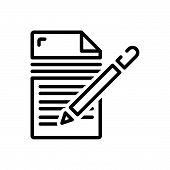 Black Line Icon For Writing  Editors  Writer  Author Notepad Pen poster