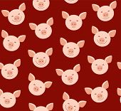 Funny Piglets, Seamless Pattern, Brown, Vector/funny Piglets, Seamless Pattern, Brown, Vector. Pink  poster