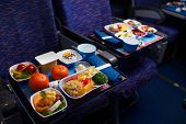 picture of first class  - Tray of food on the plane - JPG