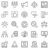 Media Influence Outline Icons Set. Vector Influencer Or Social Media Marketing Concept Linear Symbol poster