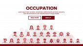 Occupation Landing Web Page Header Banner Template Vector. Policeman And Doctor, Teacher And Nurse,  poster