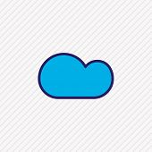 Vector Illustration Of Cloud Icon Colored Line. Beautiful Weather Element Also Can Be Used As Overca poster