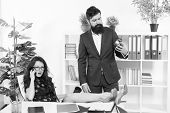 Time Is Short. Start Now. Bearded Man Hold Clock While Sexy Woman Talking On Phone. Work Time Or Wor poster