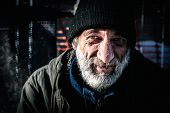Smiling Homeless Man, Close Up Portrait Of Old Smiling Homeless Alcoholic Man Face With White Beard  poster