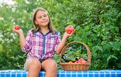 Girl Cute Smiling Child Living Healthy Life. Eat Healthy. Summer Harvest Concept. Organic Harvest. H poster