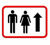 Restroom and toilet sign