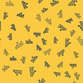Blue Line Music Equalizer Icon Isolated Seamless Pattern On Yellow Background. Sound Wave. Audio Dig poster