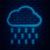 Glowing Neon Line Cloud With Rain Icon Isolated On Brick Wall Background. Rain Cloud Precipitation W poster
