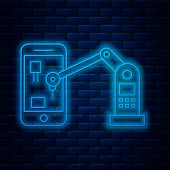 Glowing Neon Line Industrial Machine Robotic Robot Arm Hand On Mobile Phone Factory Icon Isolated On poster