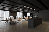 Dark Gray Open Space Office Corner poster