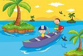 Постер, плакат: Иллюстрация детей в лодке