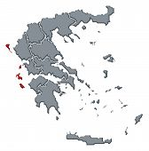 Map Of Greece, Ionien Islands Highlighted